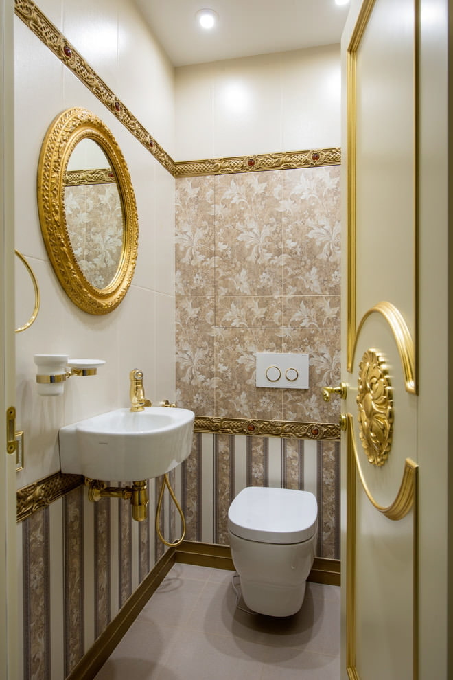 Miroir rond plaqué or