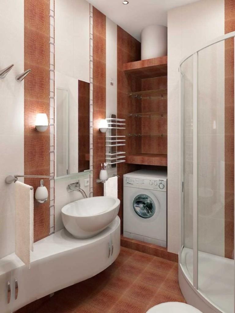 Carrelage marron au sol de la salle de bain 2 m2