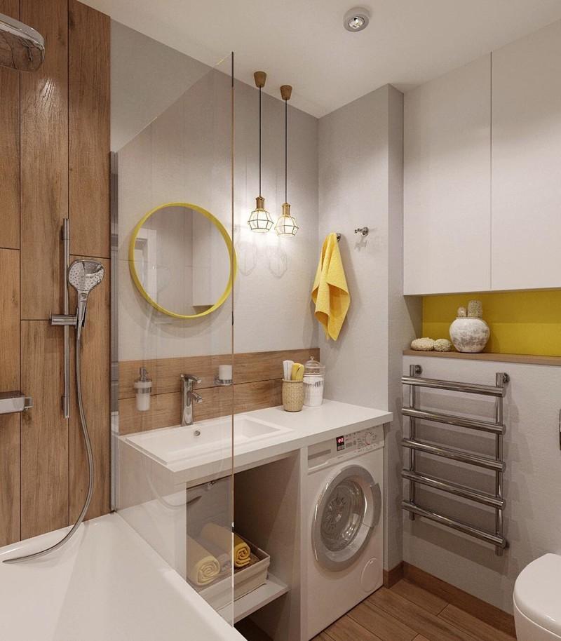 Tấm gỗ trong nội thất phòng tắm nhỏ