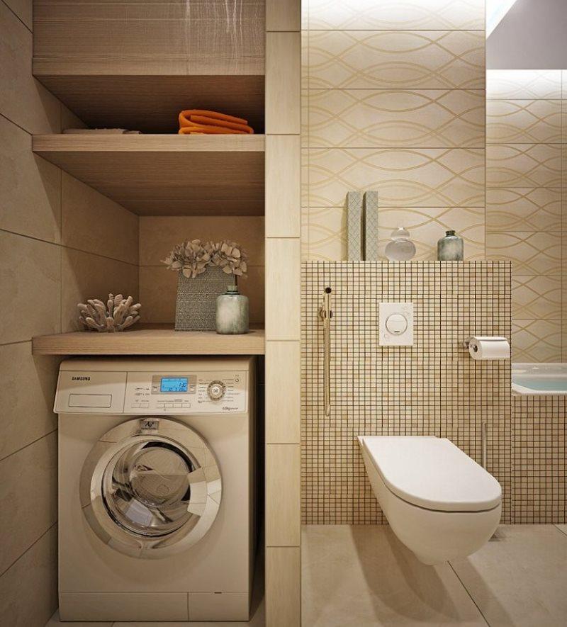 Une machine à laver dans une niche de salle de bain