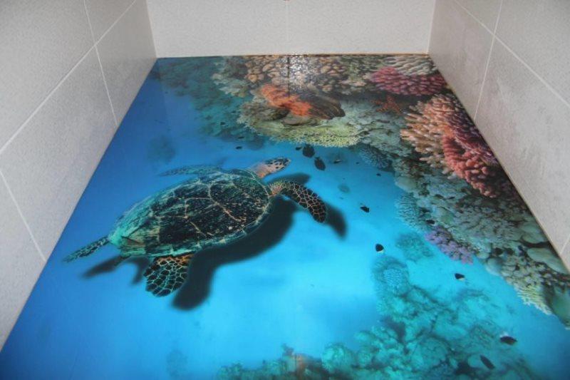 Plancher en vrac avec une image réaliste d'une tortue de mer