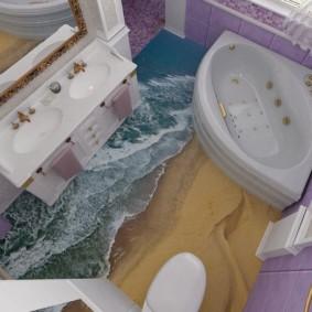 Conception d'une salle de bain avec baignoire triangulaire