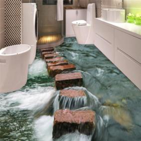 Image réaliste sur le sol de l'unité sanitaire