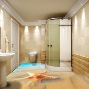 Cabine de douche dans le coin de la salle de bain