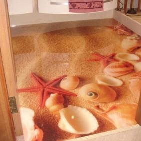 Coquillages et étoiles pour l'impression de photos dans la salle de bain