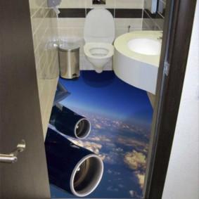 Intérieur des toilettes avec plancher en vrac