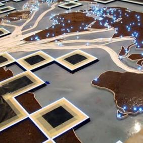 Plancher en vrac avec impression photo d'une carte du monde