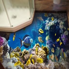Poissons de mer à l'étage de la chambre avec douche