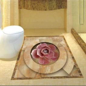 Mosaïque en céramique sur le plancher des toilettes