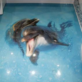 Deux dauphins pour l'impression photo dans la salle de bain
