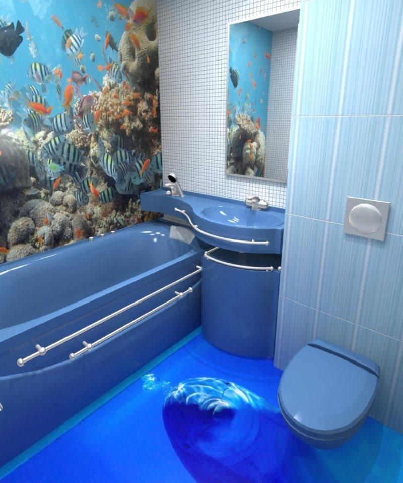 Plancher autonivelant avec un dauphin dans la salle de bain