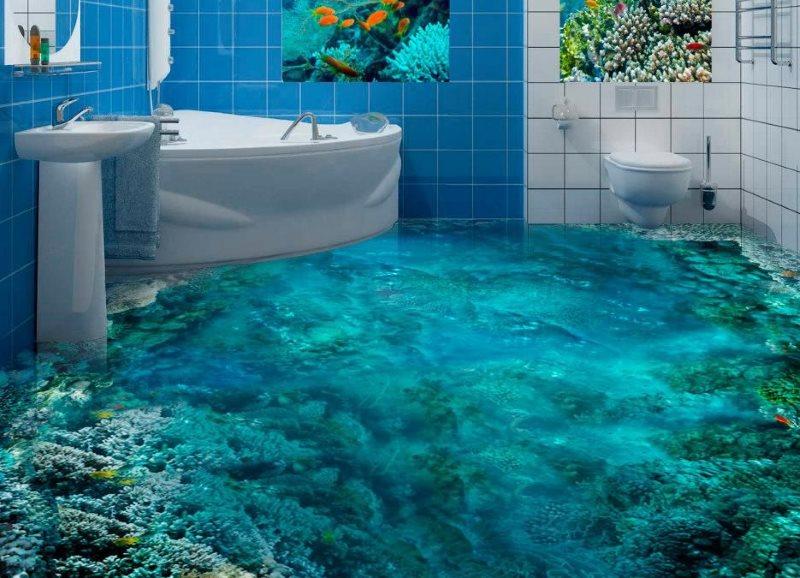 Fond de mer sur le plancher de la salle de bain