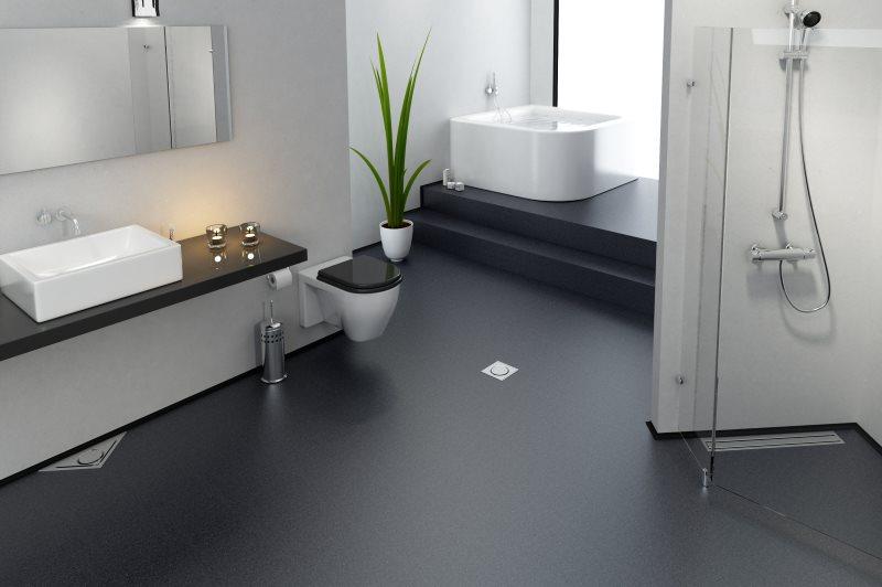 Plancher de salle de bain en vrac gris avec murs blancs