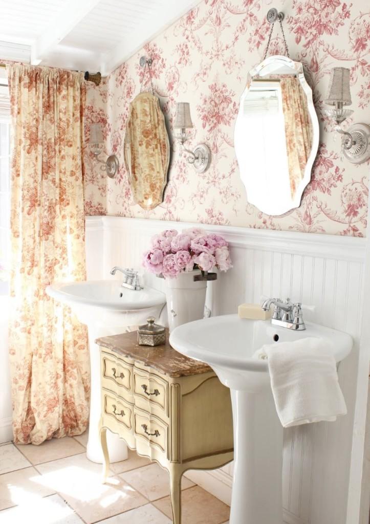 Hình nền hoa trong phòng tắm sang trọng tồi tàn