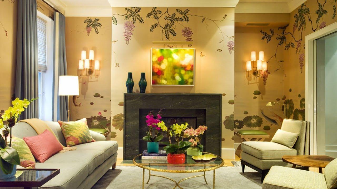 giấy dán tường trong phòng khách với thảm thực vật