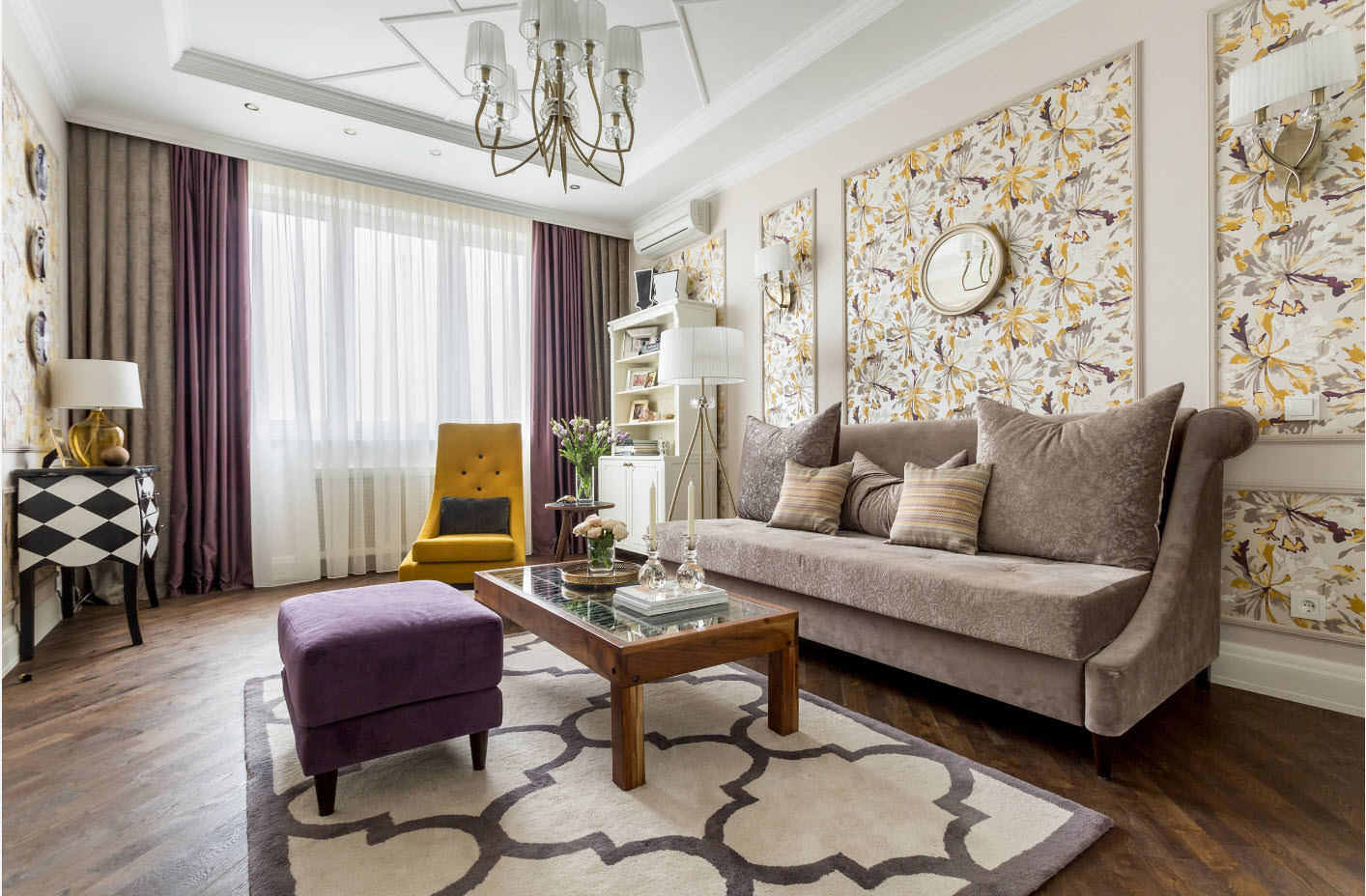 giấy dán tường trong nội thất phòng khách