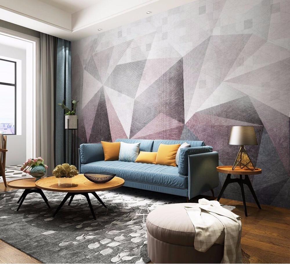 giấy dán tường phòng khách cv với hoa văn trừu tượng