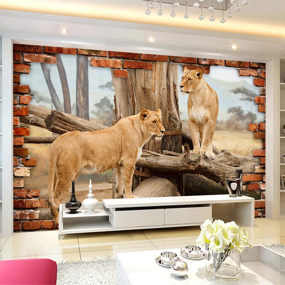 giấy dán tường trong phòng khách với động vật