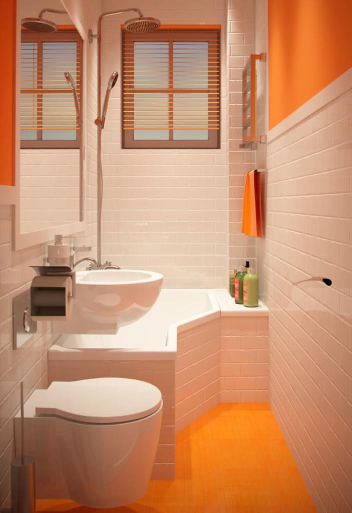 Salle de bain étroite avec WC suspendu