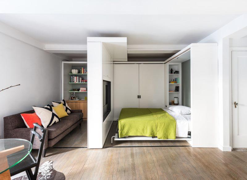 chambre-salon 18 m² avec paroi mobile