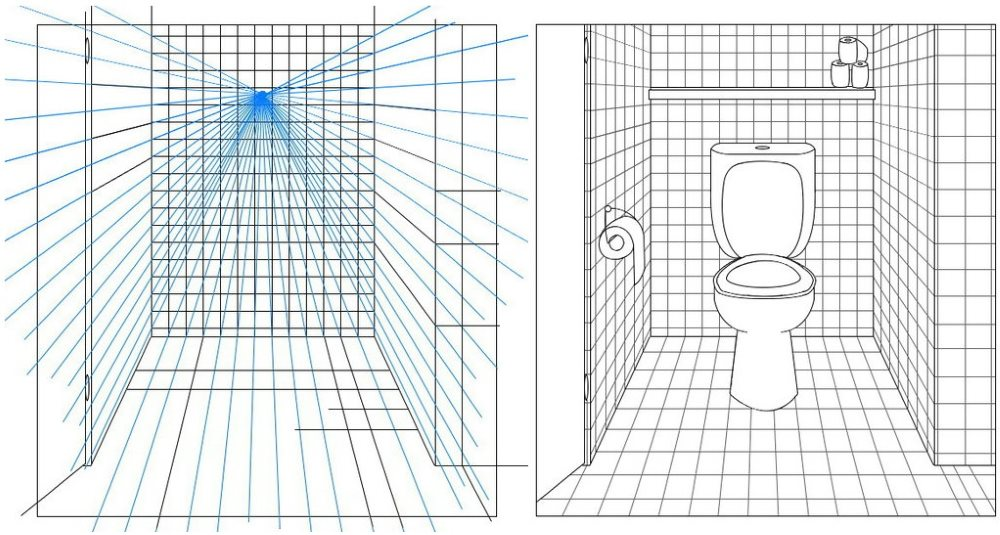 Croquis en perspective d'une petite toilette dans un appartement
