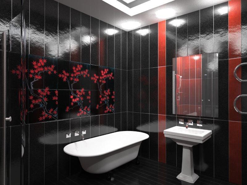 Tấm PVC màu đen trong phòng tắm với đồ đạc màu trắng
