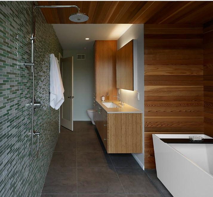 Bảng gỗ nâu trong nội thất phòng tắm