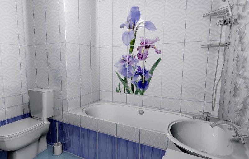 Hoa Lilac trên tấm nhựa trong phòng tắm