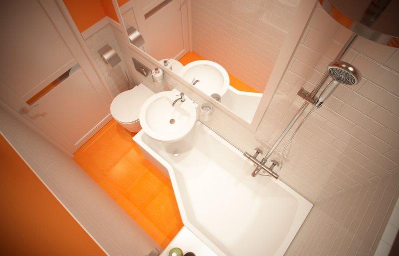 تصميم حمام 2 متر مربع مع أرضية برتقالية