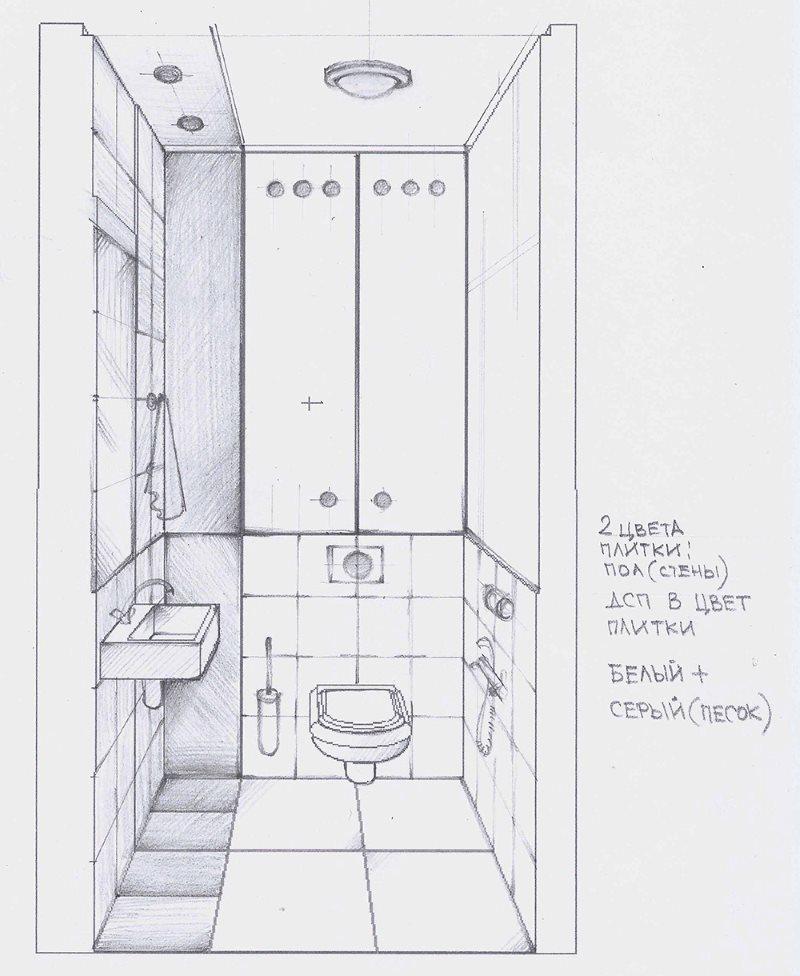 Croquis à main levée de l'intérieur des toilettes