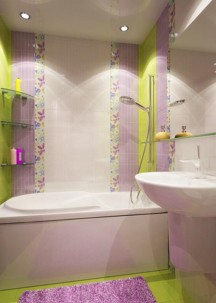 Đặt gạch dọc trên tường trong phòng tắm