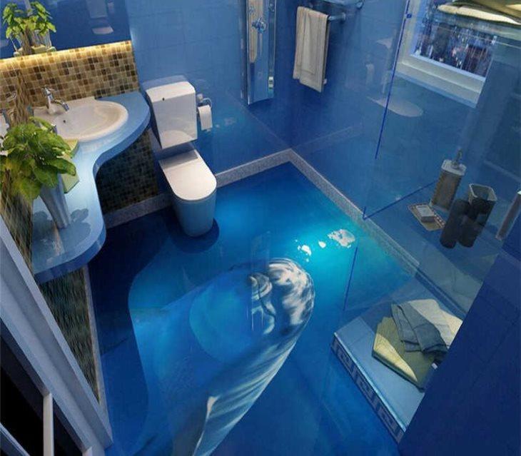 Plancher de salle de bain carré bleu