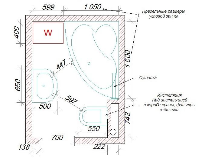 Unité sanitaire combinée Scheme-plan