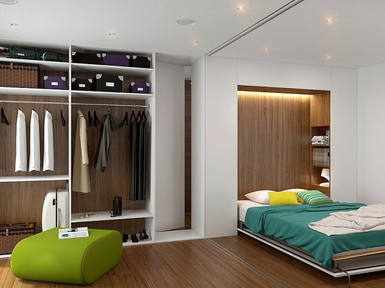 chambre-salon 18 m² avec photo de garde-robe