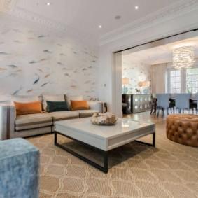 hình nền ánh sáng trong ý tưởng trang trí phòng khách