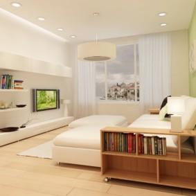 chambre-salon 18 m² avec un piédestal