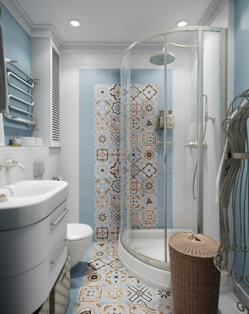 Phòng tắm góc cạnh trong phòng tắm hiện đại