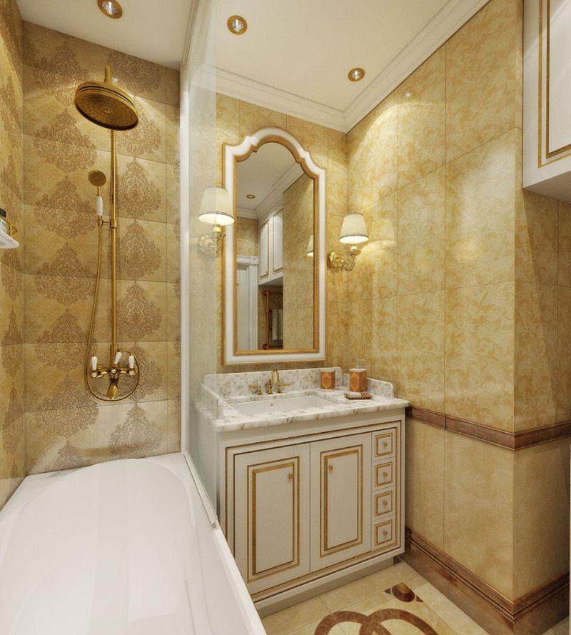Nội thất của một phòng tắm nhỏ theo phong cách cổ điển