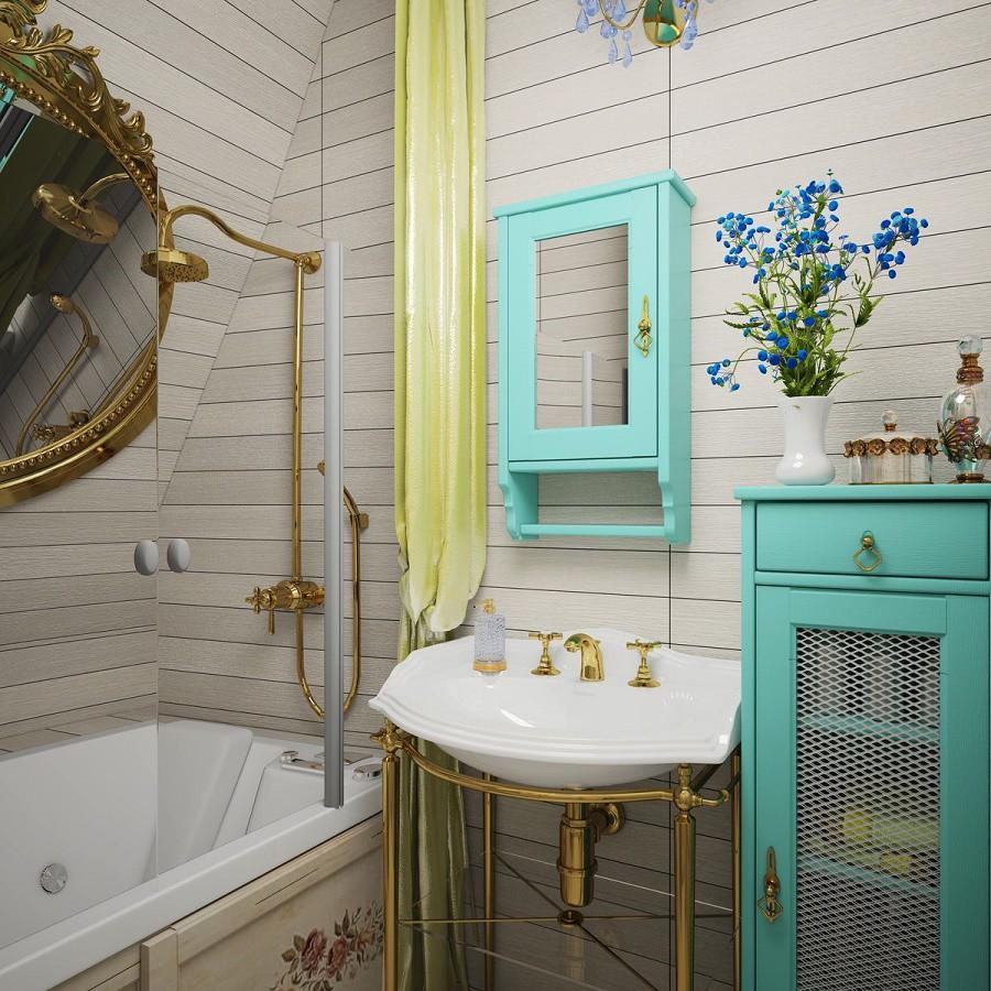 Phòng tắm nhỏ Provence