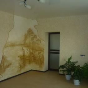 papier peint liquide dans le couloir et le salon