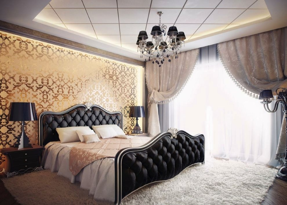 Revêtement de tête de lit noir