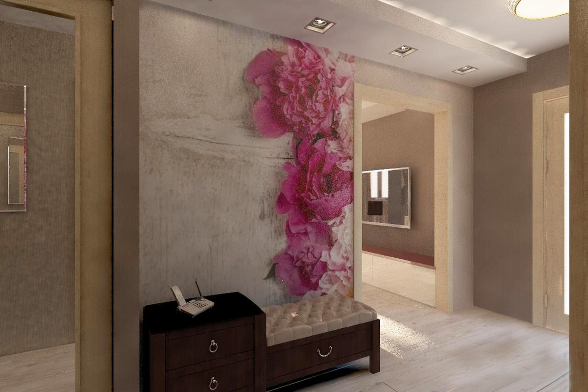 papier peint liquide dans le dessin du couloir