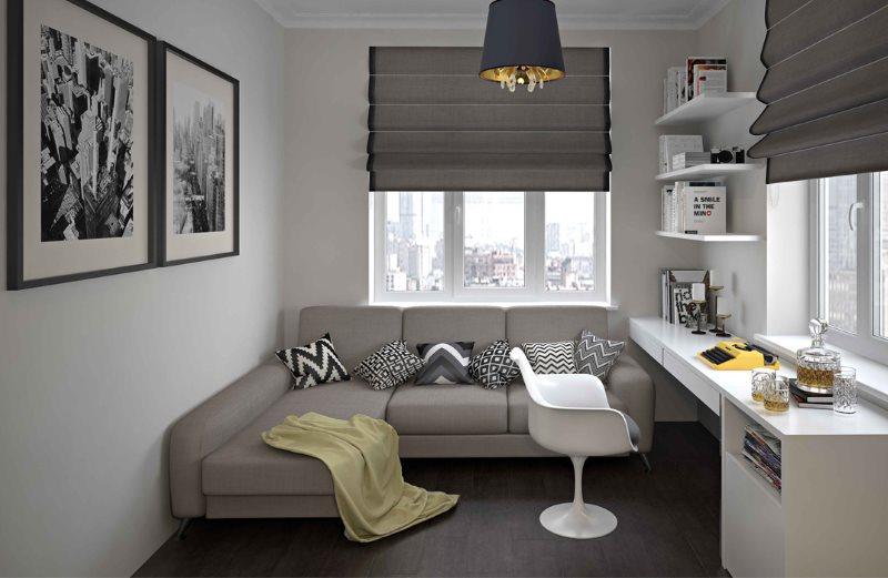 Canapé pliant gris dans la chambre des enfants