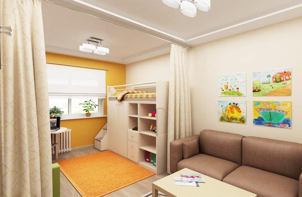 Rideau au plafond d'un studio pour une famille avec un enfant
