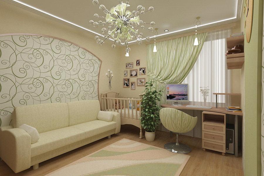 design du salon combiné avec la pépinière
