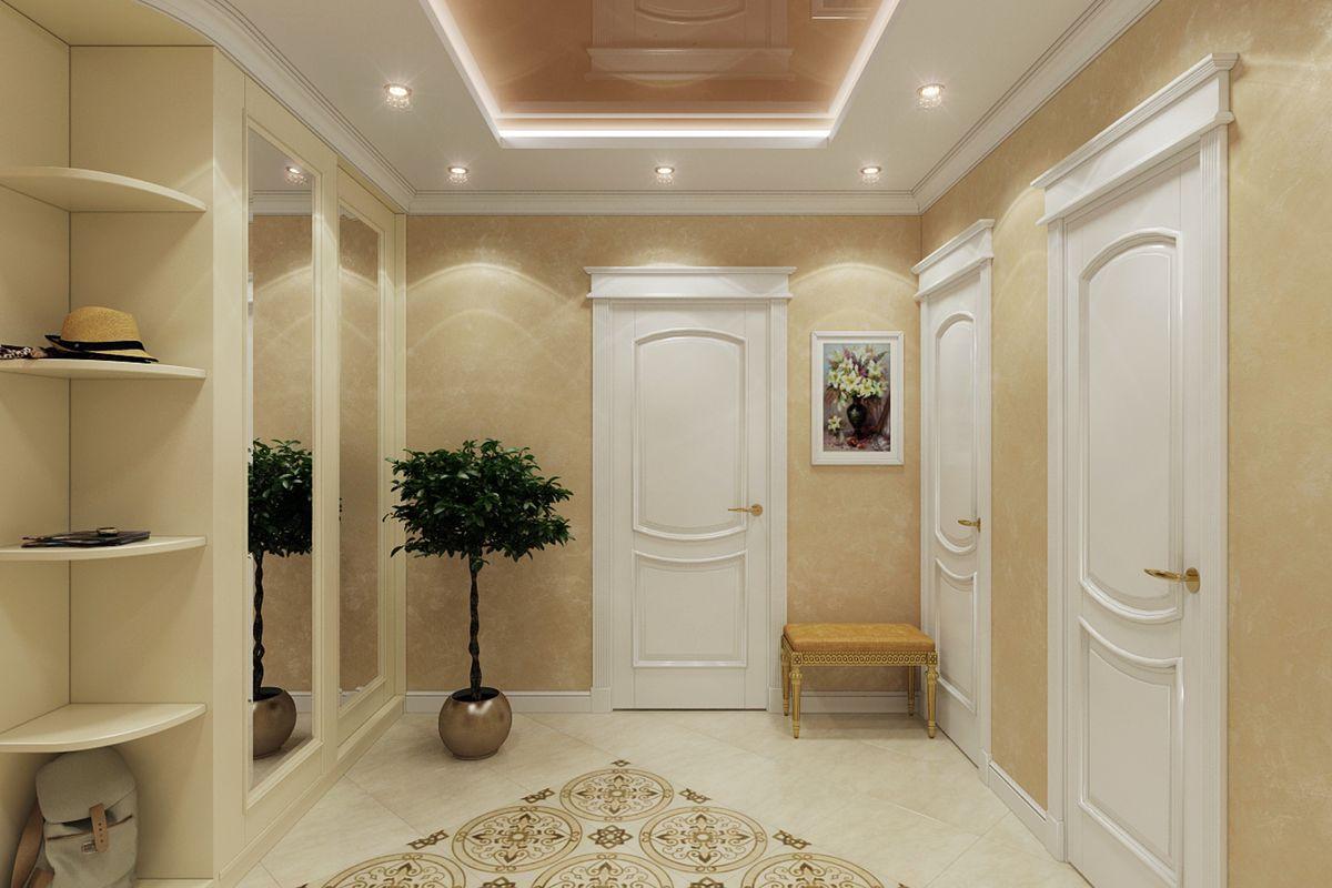 couloir dans un appartement dans une maison à panneaux