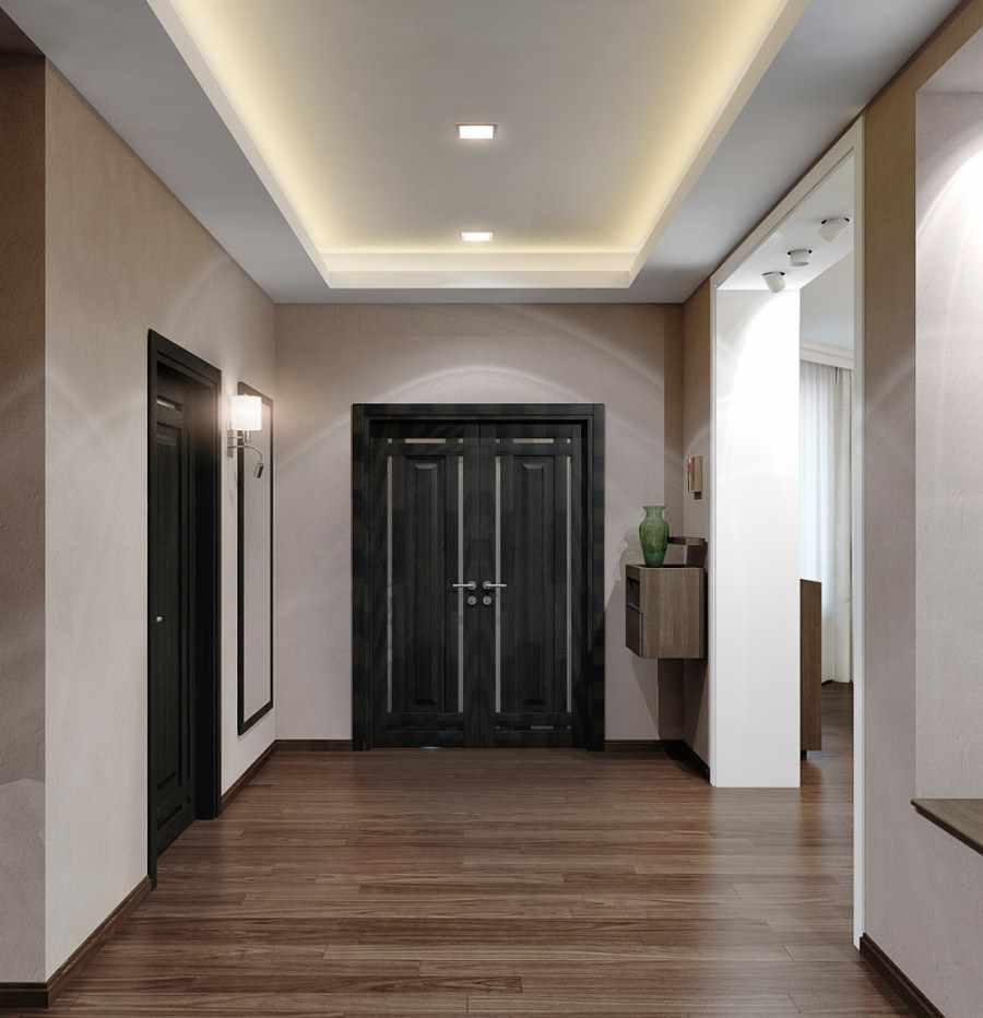 Conception d'un grand couloir dans une maison privée