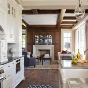 منطقة العمل في غرفة المعيشة المطبخ