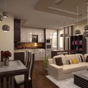 صوفا زاوية في غرفة المعيشة في المطبخ