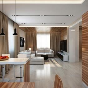 تصميم غرفة معيشة - مطبخ حديثة في منزل خاص